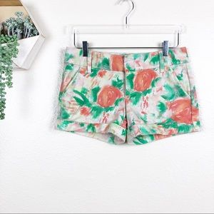 Alice + Olivia Cady cuff short orange green floral